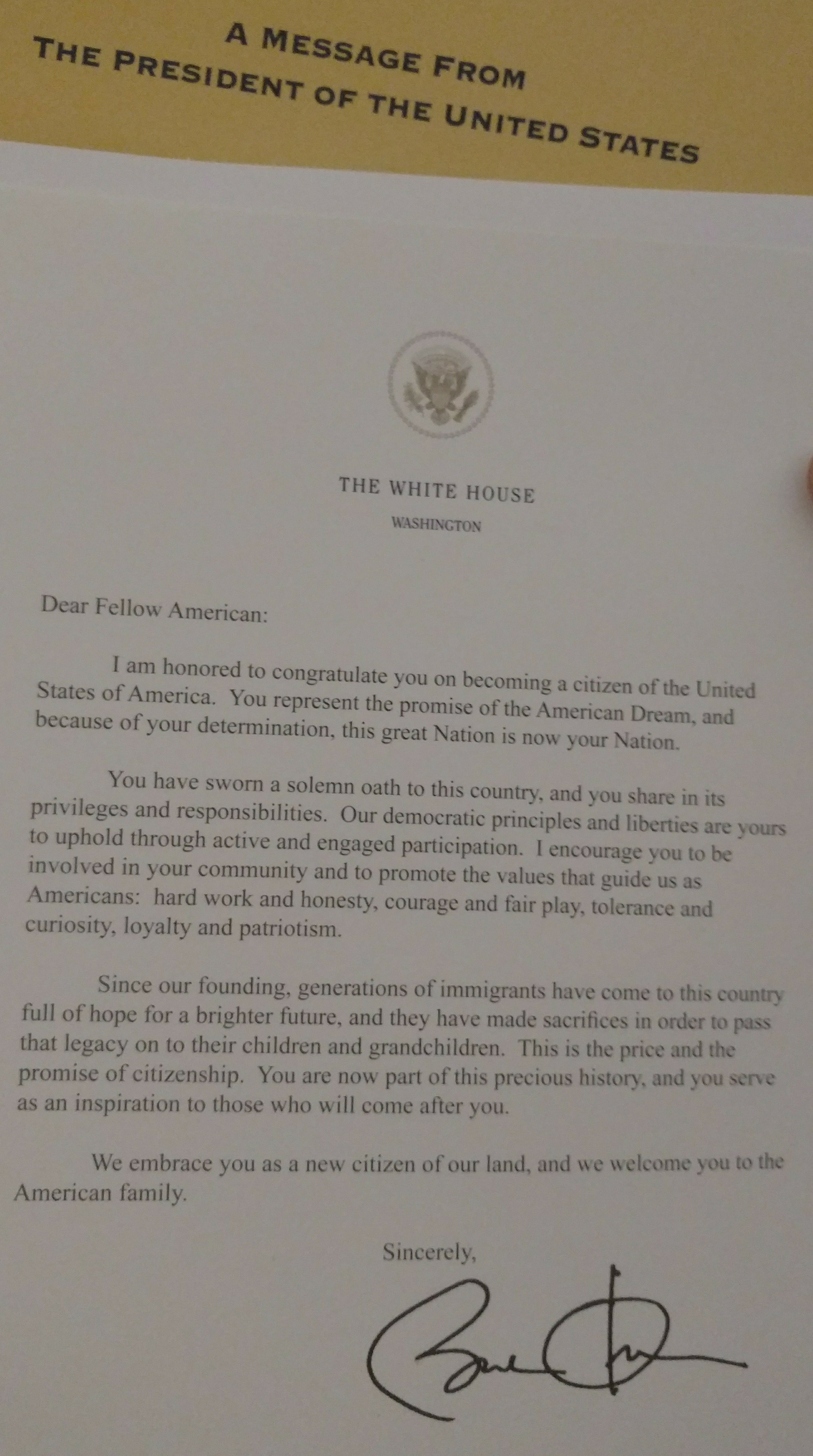 An anecdote from today's oath taking ceremony - US Citizenship Case