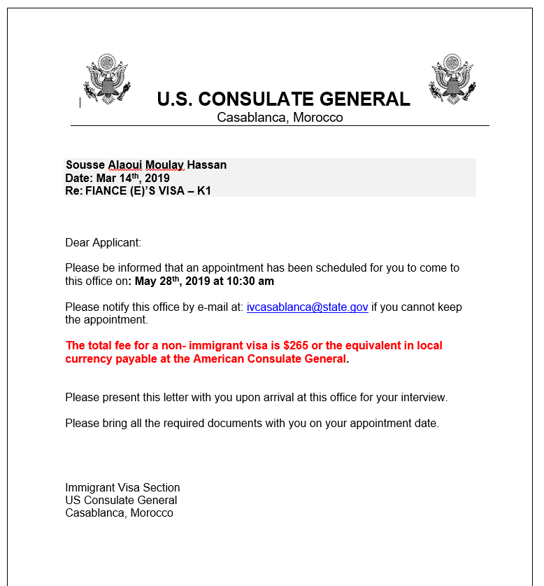 Embassy appointment scheduled but I am confused on where we