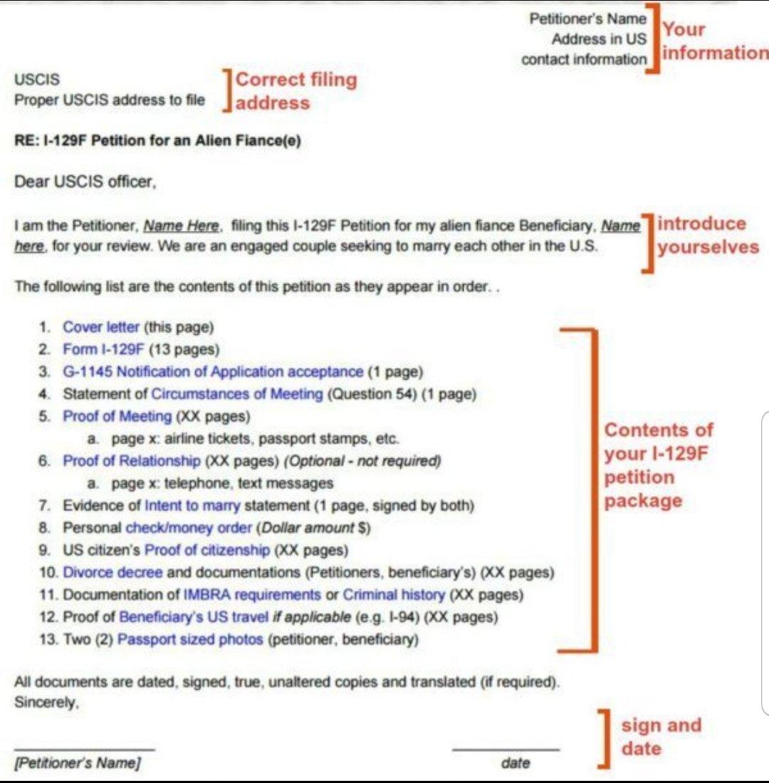 Cover Letter K 1 Fiance E Visa Process Procedures Visajourney
