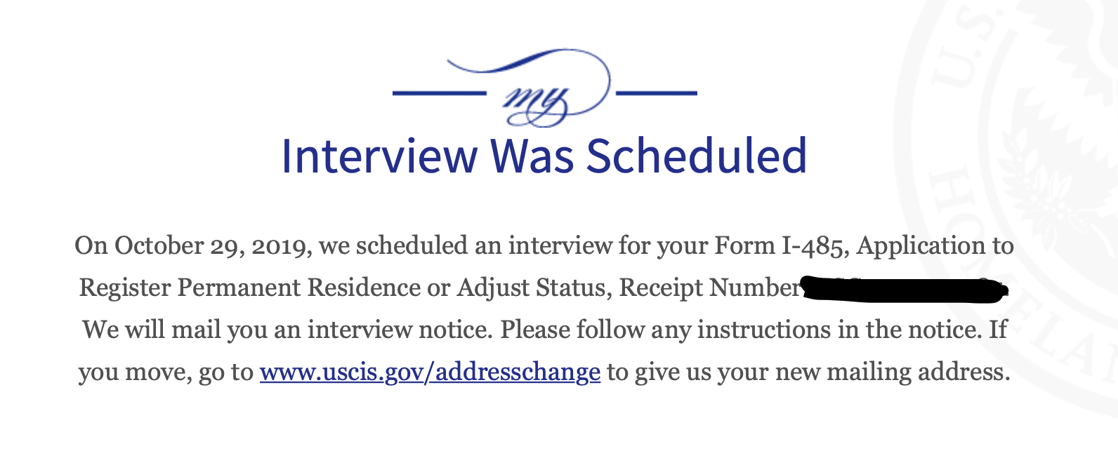 form i 485 interview was scheduled  AOS Case Status: Interview was Scheduled - No Notice ...