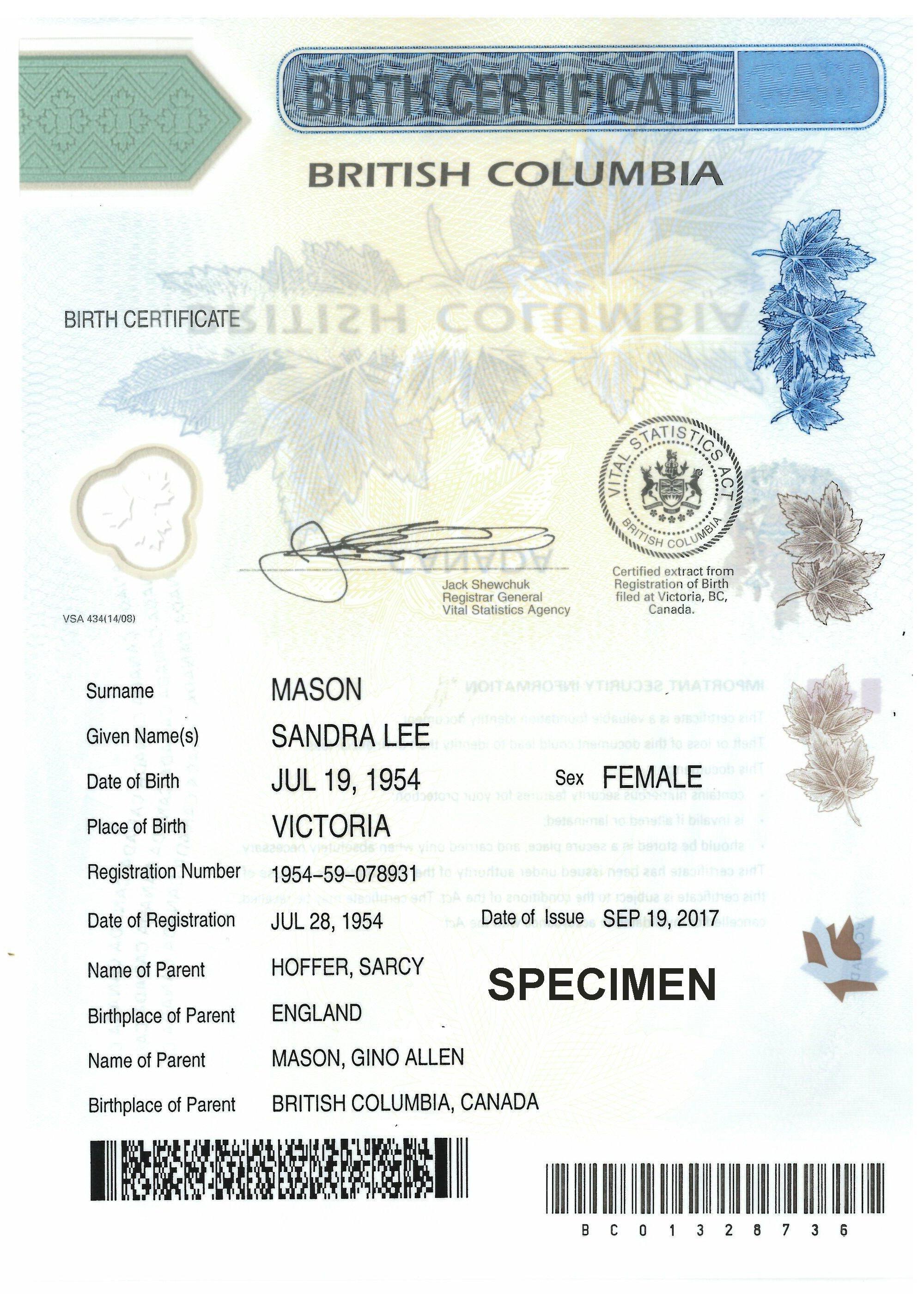 birth certificate canadian form british declaration legal application columbia german canada bc visa change immigration gender sample certificates parental copy